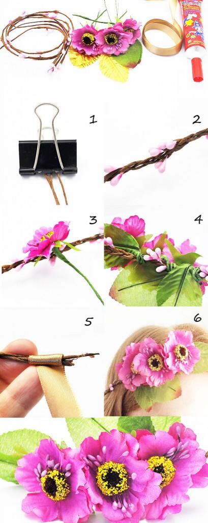 tutorial wianek kwiatki 409x1024 Tutorial kwiaty we włosach