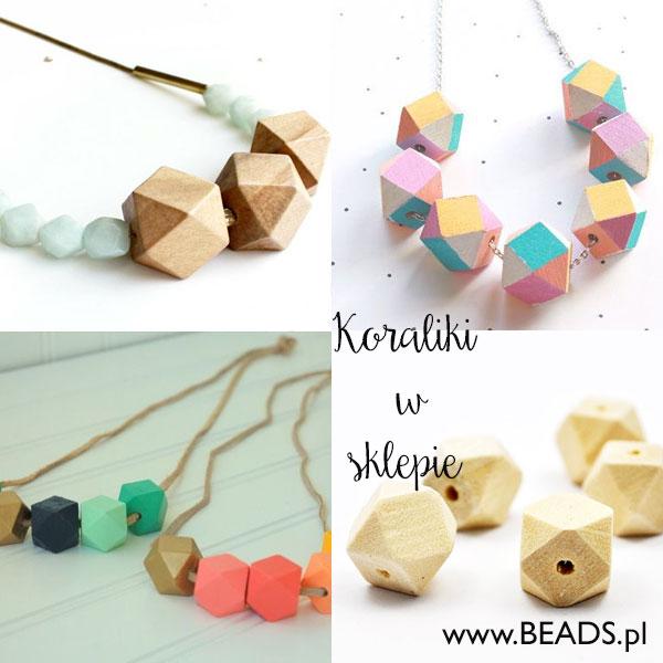 drewniane koraliki geometryczne inspiracje 2015 Geometryczne naszyjniki  inspiracje