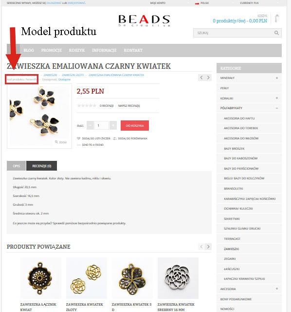 model produktu beadspl Zmiany w sklepie